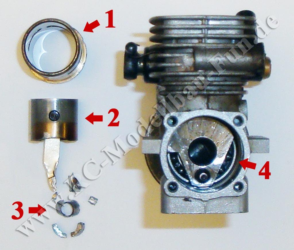 GXR18 Verbrenner Motor zerlegt Pleuel kaputt